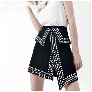 🎀 Black Metal Stud Asymmetrical Skirt